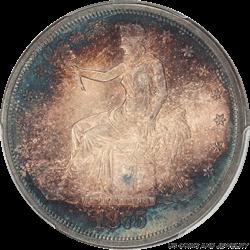 1875-S Trade Dollar Rainbow Toning PCGS MS65