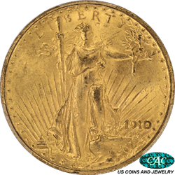 1910 St. Gaudens $20 Gold Double Eagle PCGS CAC MS64