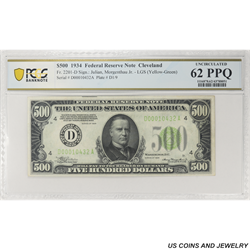 1934 $500 Federal Reserve Note,  Fr. 2201-D, Cleveland,  PCGS 62 PPQ Uncirculated