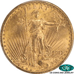 1911-D St. Gaudens $20 Gold Double Eagle PCGS and CAC MS65 CAC - Brilliant, Original