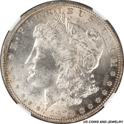 1879 Morgan Silver Dollar NGC MS63 Rolling Cartwheel luster