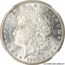 1893-CC Morgan Silver Dollar NGC MS63