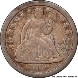 1859-S Seated Liberty Dime PCGS F12 Mintage of Only: 60,000