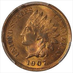 1907 Indian Cent PCGS MS64RD Frosty RED
