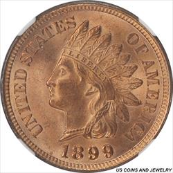 1899 Indian Cent NGC MS64RD Wheat/Amber Red Color