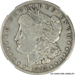 1893-CC Morgan Silver Dollar NGC VF30 Low Mintage Better Date