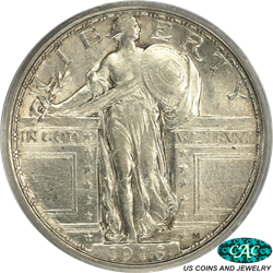 1916 Standing Liberty PCGS  AU53 CAC - Hard, Key Date in Higher Grade