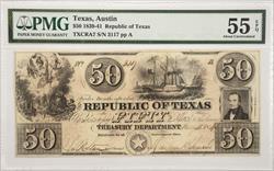 $50 Republic of Texas 1839-41  PMG AU55 EPQ