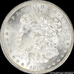 1892-CC Morgan Silver Dollar PCGS MS62 Frosty Super White
