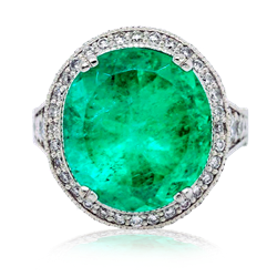 GIA Oval 9.96ct Emerald and Diamond Halo Ring!