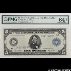 1914 $5 Federal Reserve Note - Philadelphia PMG 64 EPQ - Nice Note