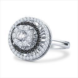1cttw Black and White Diamond Spinner Ring in 14k White Gold