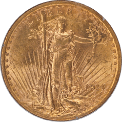 1914-S Saint St. Gaudens $20 Gold Double Eagle Old Rattler PCGS MS 62