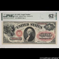 1875 $1 Legal Tender Fr. 21 SN H6028513 PMG 62 EPQ Allison New (Series A)