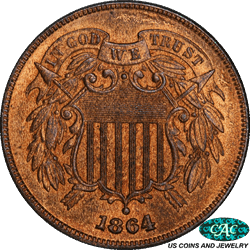 1864  Large Motto Two Cent PCGS and CAC MS64Red Brown - Nice and Original