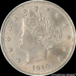 1910 Liberty V Nickel OGH PCGS MS63