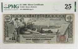 $1 1896 Educational Series Silver Certificate FR#225 PMG VF25 Bruce Roberts