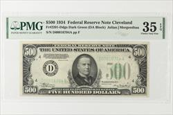 1934 $500 Federal Reserve Note, Cleveland,  Fr. 2201-D SN D00016704A PMG CVF 35 EPQ