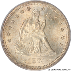1874-S Seated Liberty Quarter With Arrows PCGS MS65