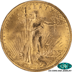 1907  Saint St. Gaudens $20 Gold Double Eagle PCGS and CAC MS64