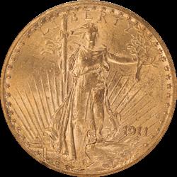 1911 Saint St. Gaudens $20 Gold Double Eagle NGC MS 61