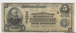 1910 The CNBoC Wichita Falls Texas $5 National Currency FNB#4248  S/N Z576402D