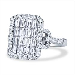 2.48cttw Emerald And Round Cut Diamond Cluster Ring, 18k White Gold