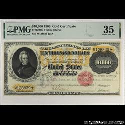 1900 $10000 Gold Certificate Stamp Canceled PMG CVF 35 Fr#1225h S/N M128839 Teehee Burke