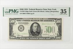 1934 $500 Federal Reserve Note, New York Fr. 2201-B SN B00171968A PMG CVF 35