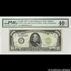 1934 $1000 Federal Reserve Note Fr. 2211-F, Atlanta, PMG XF 40 EPQ