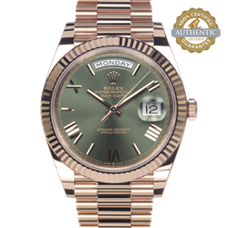 Rolex 40mm Day Date President 22835 18K RG Olive Roman dial  Complete