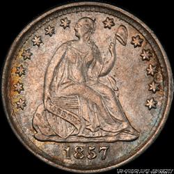 1857 Seated Liberty Half Dime PCGS AU55