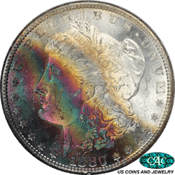 1880-S Morgan Dollar $1 Monster Toned PCGS CAC  MS 64