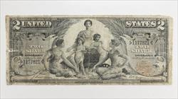 1896 $2 Silver Certificate S/N 1177821 $2 Educational Circulated Fine