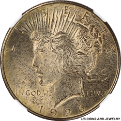 1926-D Silver PEACE Dollar NGC MS63 Antique Gilded GOLD Toning PQ+ Coin