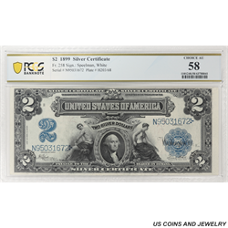 1899 $2 Silver Certificate, Fr. 258 PCGS 58 Choice Almost Uncirculated - Nice Clean Note