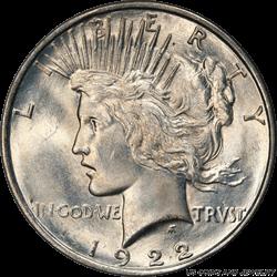 1922-D Silver Peace Dollar PCGS MS65+ Frosty Sharp GEM BU