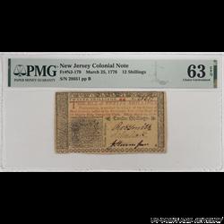 1776 Colony of New Jersey; 12 Shillings Fr. NJ-179; PMG 63 EPQ - Very Nice Original Note