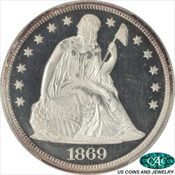 1869 Seated Liberty PCGS and CAC PR64+DCAM Sharp Black and White CAMEO Proof