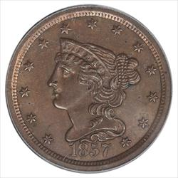 1857 Braided Hair Half Cent PCGS MS64BN Mintage of: 35,180