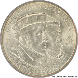 1924 50C Huguenot Half Dollar Commemorative PCGS MS 65 Blast White