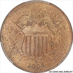 1864 Two Cent Piece Large Motto PCGS MS64RD Brilliant Frost Red