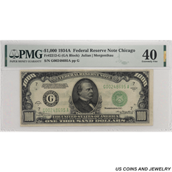 1934A $1000 Federal Reserve Note, Chicago, PMG  XF 40 - Excellent Example