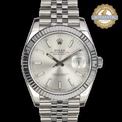 Rolex 41mm Datejust II  126334 18K WG Fluted Bezel Silver Dial on Jubilee Watch Only