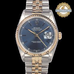 Rolex 36mm Date Just RN/16233 TT SS & 18K YG Jubilee Blue Stick Index Watch Only