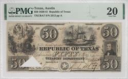 Austin Texas 1839-41 $50 Republic of Texas Note PMG