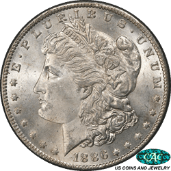 1886-O Morgan Silver Dollar PCGS  MS64 CAC - Nice White Key Coin!