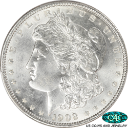 1902 Morgan Silver Dollar PCGS and CAC MS65 Frosty White Coin