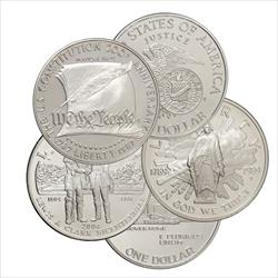5 $1 Silver Modern Commemoratives - .7734 oz Silver each - 3.867 oz ASW