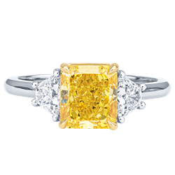 2.10CT FANCY VIVID YELLOW CUSHION DIAMOND RING